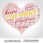 coconut. word cloud in shape of ... | Shutterstock .eps vector #745534909