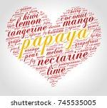 papaya. word cloud in shape of... | Shutterstock .eps vector #745535005