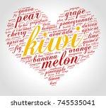 kiwi. word cloud in shape of... | Shutterstock .eps vector #745535041
