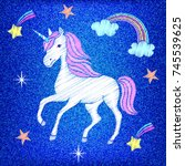 embroidered unicorn stars... | Shutterstock .eps vector #745539625