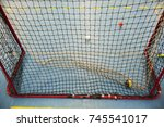 empty floorball goal with the... | Shutterstock . vector #745541017