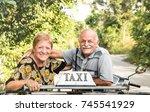 happy retired senior couple... | Shutterstock . vector #745541929