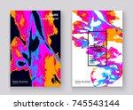 neon marble texture explosion... | Shutterstock .eps vector #745543144