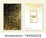 neon gold explosion paint... | Shutterstock .eps vector #745543225