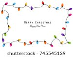 colorful christmas frame with... | Shutterstock .eps vector #745545139