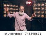 modern santa in fashion clothes ... | Shutterstock . vector #745545631