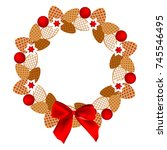 pinecone wreath with red balls...