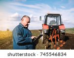 framer controls the work in the ...   Shutterstock . vector #745546834