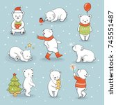 cute little polar bear set with ... | Shutterstock .eps vector #745551487