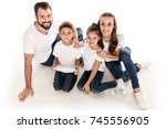 high angle view of smiling big... | Shutterstock . vector #745556905
