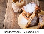 peanut butter and banana french ... | Shutterstock . vector #745561471