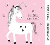 magic cute unicorn vector...   Shutterstock .eps vector #745561681