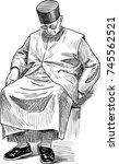sketch of a sleeping priest | Shutterstock .eps vector #745562521