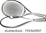 tennis racket  ball and case | Shutterstock .eps vector #745563907
