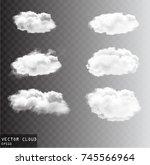 vector clouds over transparent... | Shutterstock .eps vector #745566964