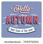 hello autumn typographic design.... | Shutterstock .eps vector #745570201