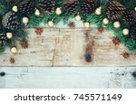 christmas decoration on the... | Shutterstock . vector #745571149