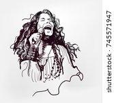 janis lyn joplin legendary rock ... | Shutterstock .eps vector #745571947