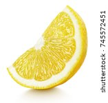 ripe wedge of yellow lemon... | Shutterstock . vector #745572451