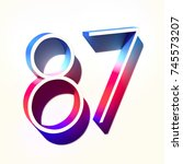 number eighty seven 87 with... | Shutterstock . vector #745573207