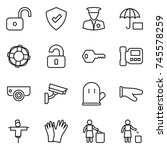 thin line icon set   unlock ... | Shutterstock .eps vector #745578259