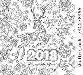 new year congratulation card... | Shutterstock .eps vector #745578499