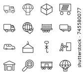 thin line icon set   truck ... | Shutterstock .eps vector #745580077