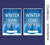 two festive flyers with spruces ... | Shutterstock .eps vector #745580911