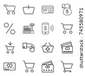 thin line icon set   cart ... | Shutterstock .eps vector #745580971
