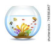 aquarium with fish and corals.... | Shutterstock .eps vector #745581847