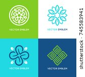 vector set of logo design... | Shutterstock .eps vector #745583941