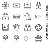 thin line icon set   dollar ... | Shutterstock .eps vector #745585081