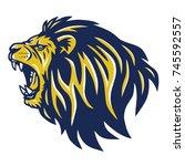 roaring lion head mascot | Shutterstock .eps vector #745592557