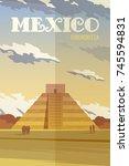 Vector Retro Poster. Pyramid ...