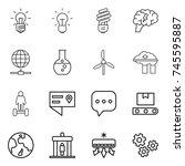 thin line icon set   bulb ... | Shutterstock .eps vector #745595887