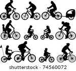 bicyclists silhouettes... | Shutterstock .eps vector #74560072