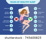 rules of healthy sleep.... | Shutterstock . vector #745600825