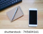 flat lay of smartphone ...   Shutterstock . vector #745604161