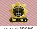 gold badge with wastepaper... | Shutterstock .eps vector #745605445