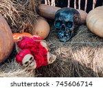 halloween skeleton decoration | Shutterstock . vector #745606714
