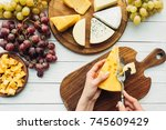 flat lay with female hands...   Shutterstock . vector #745609429