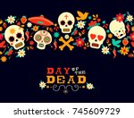 Stock vector day of the dead seamless pattern art mexican holiday celebration background with typography quote 745609729