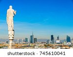 skyline of milan  view from the ... | Shutterstock . vector #745610041