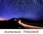 star trail in hehuan mountain.... | Shutterstock . vector #745610635