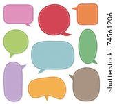 bright stitched speech bubbles... | Shutterstock .eps vector #74561206