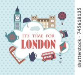 london city set of elements and ... | Shutterstock .eps vector #745618135