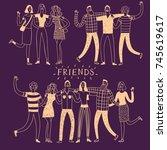 set of happy friends groups ... | Shutterstock .eps vector #745619617