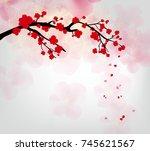 cherry blossom for chinese new... | Shutterstock .eps vector #745621567
