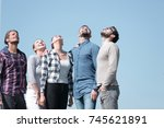 closeup.a team of young people... | Shutterstock . vector #745621891
