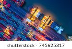 container ship in import export ... | Shutterstock . vector #745625317